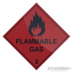 Flammable Gas Sign - 100 x 100mm Self-Adhesive