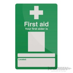 Your First Aider Sign - 200 x 300mm Self-Adhesive