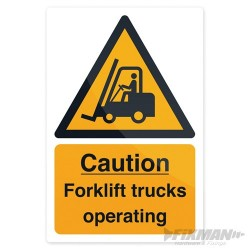 Znak: Caution Forklift Trucks - 200 x 300mm Rigid