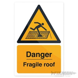 Znak: Danger Fragile Roof - 200 x 300mm Rigid