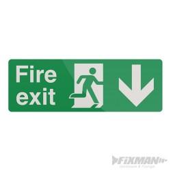 Fire Exit Arrow Sign - 400 x 150mm PL Down