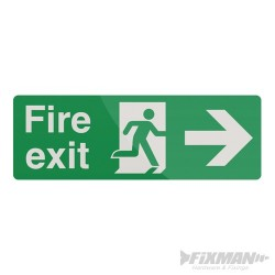 Fire Exit Arrow Sign - 400 x 150mm PL Right