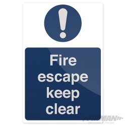 Fire Escape Keep Clear Sign - 200 x 300mm Rigid