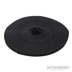 Self-Wrap Hook & Loop Tape Black - 10mm x 25m