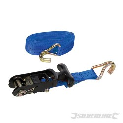 Rubber-Handled Ratchet Tie Down Strap J-Hook - 4.5m x 38mm - WLL 400kg Breaking Strength 1200kg