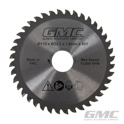 Tungsten Carbide-Tipped Saw Blade GTS1500 - TCT Saw Blade 110 x 22.2 x 40T
