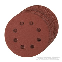 Hook & Loop Discs Punched 115mm 10pce - 115mm 4 x 60, 2 x 80, 120, 240G