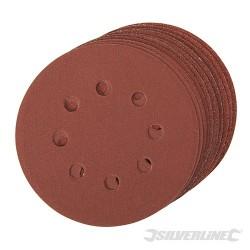 Brusný papír děrovaný 125 mm, se suchým zipem - 10 kusů - 4 x 60, 2 x 80, 120, 240G