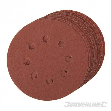 Hook & Loop Discs Punched 125mm 10pce - 4 x 60, 2 x 80, 120, 240G