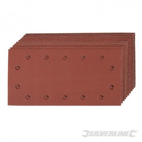 """Arkusz papieru sciernego z otworami i mocowaniem na rzep, 1/2"""", 10 szt. - Uziarnienie 2x 60, 3 x 80, 120, 2 x 240"""
