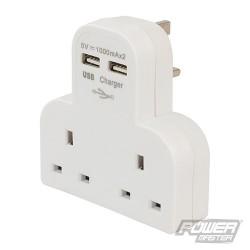 13A Socket with Dual USB Ports & Surge Protector - 1000mA x 2