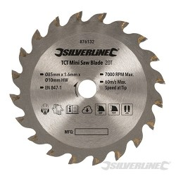 TCT Mini Saw Blade - 85mm Dia - 10mm Bore - 20T