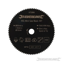 HSS Mini Saw Blade - 85mm Dia - 10mm Bore - 80T