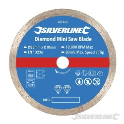 Diamond Mini Saw Blade - 85mm Dia - 10mm Bore