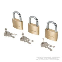 Brass Padlock Keyed to Differ 3pk - 40mm