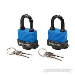 Keyed Alike Weather-Resistant Padlocks - 48mm 2pk