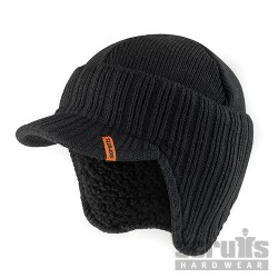 Peaked Knitted Hat - Black