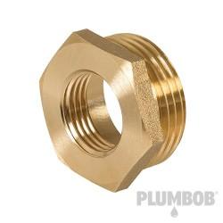 "Brass Hexagon Bush - 1"" (Male) x 1/2"" (Female)"