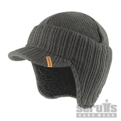 Peaked Knitted Hat - Graphite