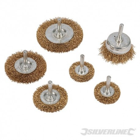 Brassed Steel Wire Wheel & Cup Brush Set 6pce - 6pce