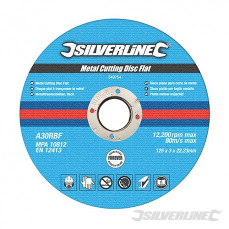 Metal Cutting Discs Flat 10pk - 125 x 3 x 22.23mm