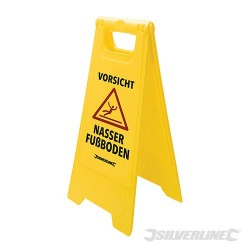 A Frame Caution Wet Floor Sign - 295 x 610mm German