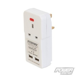 13A Socket Adaptor with Twin USB - 2100mAh combined