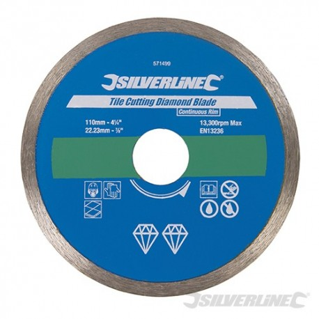Tile Cutting Diamond Blade - 110 x 22.23mm Continuous Rim